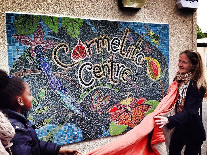 carmelita centre sign unveiling mosaic sign