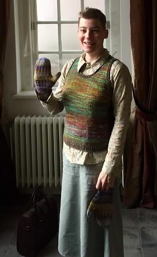 handmade outfit handspun vest mittens sewn shirt blouse skirt
