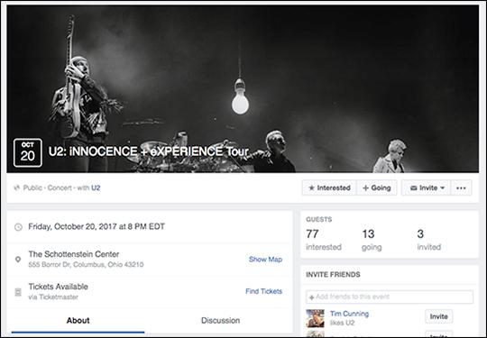 U2 Columbus Facebook event