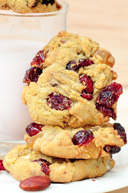 Gluten Free Almond Flour Cookies with Cranberries and Maple Syrup