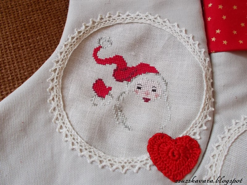 cross stitch, luli, christmas stocking, lace, sewing (2)