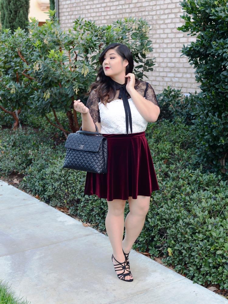 Curvy Girl Chic ELOQUII lace top velvet skirt 2