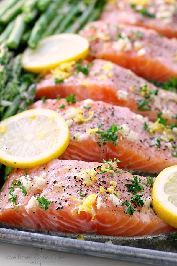 Sheet Pan Lemon, Garlic & Herb Salmon with Asparagus.