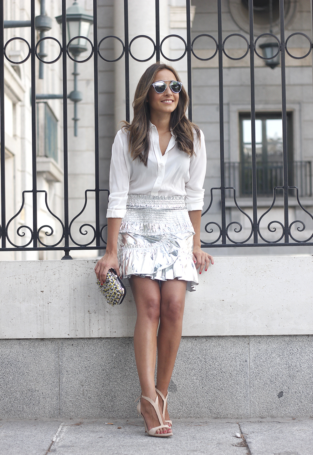Isabel Marant Metallic Skirt white shirt nude sandals dior so real sunnies outfit style fashion02