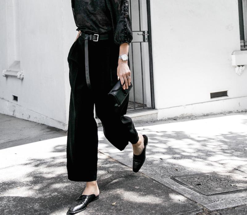 all black outfit inspo minimal fashion blogger modern legacy loafer mules karen millen shoulder blouse (1 of 9)
