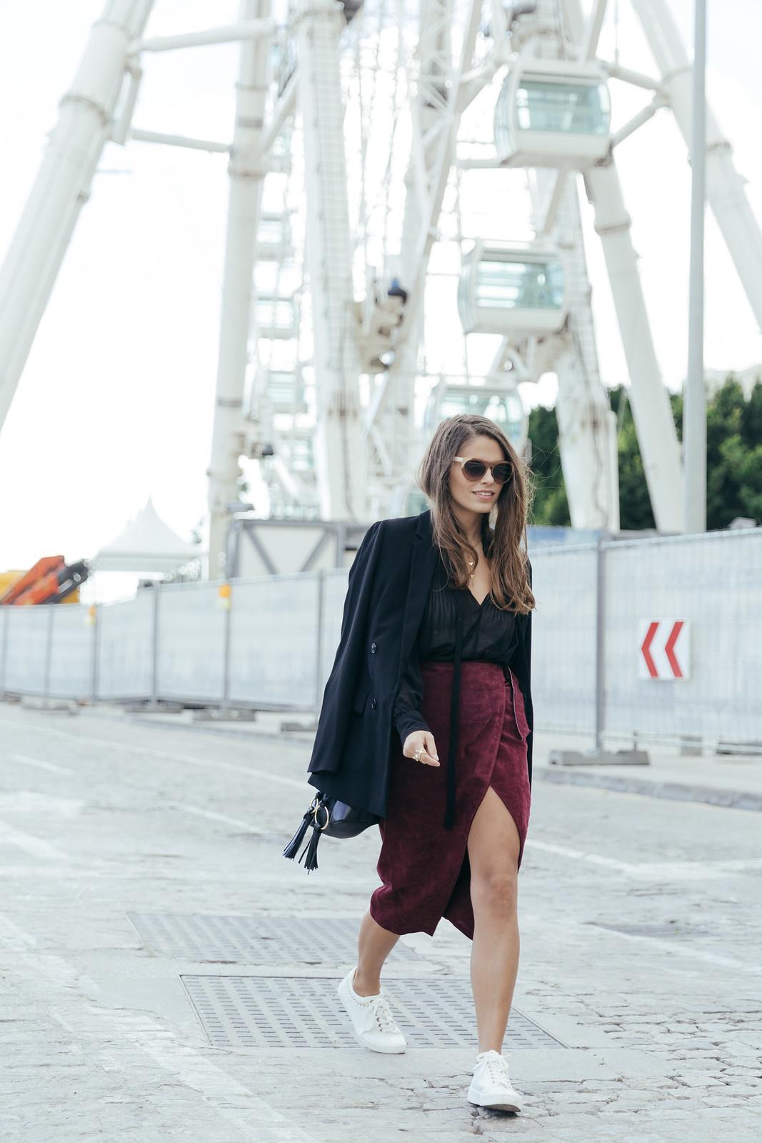 Jessie Chanes Seams for a desire - Burgundy Midi Skirt -3