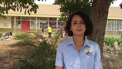 Hazel Rodriguez of the U.S. Fish and Wildlife Service interviews students at Bernice Curren School about their Dia de los Muertos Monarch Butterfly Festival