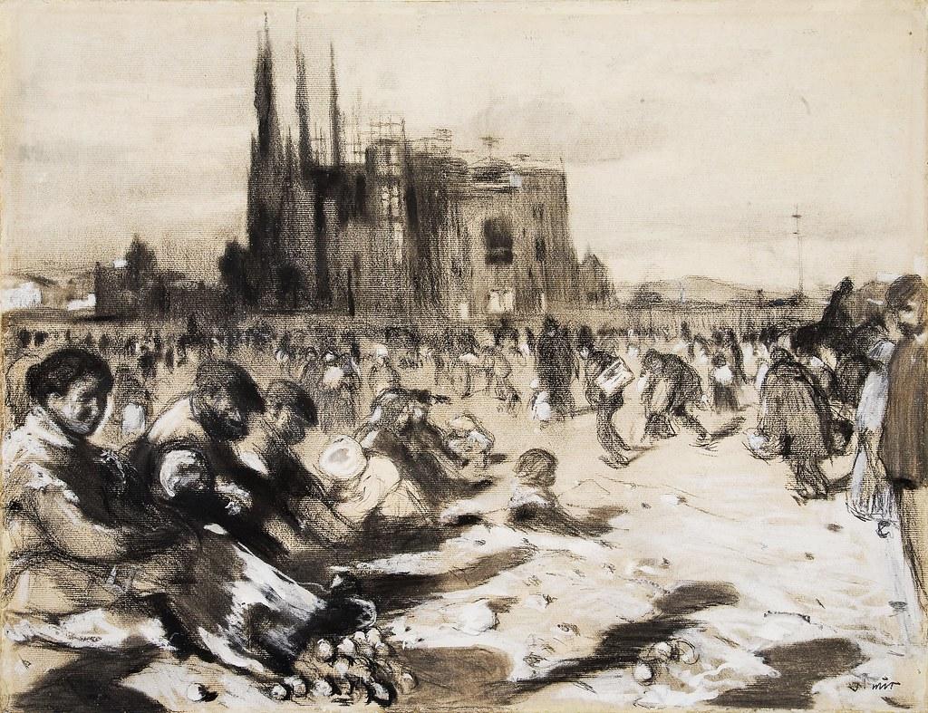 Peinture de pauvres devant la Sagrada Familia à Barcelone pendant sa construction.