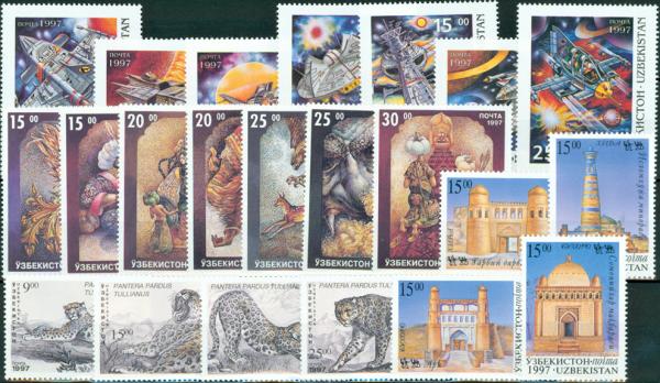 Známky Uzbekistan balÃ-Äek 22 ks rôznych MINT