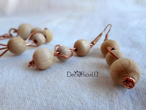 bracciali e orecchini rame - perle di legno 5-001