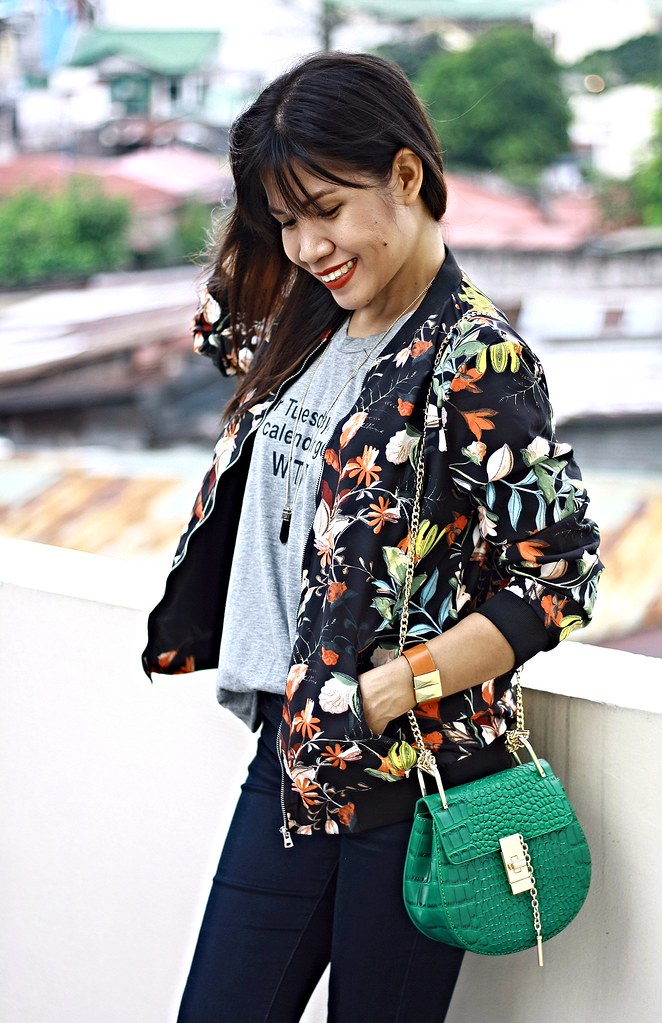 floral bomber jacket, sammydress, bomber jacket, crossbody bag, chloe inspired bag, zara jacket