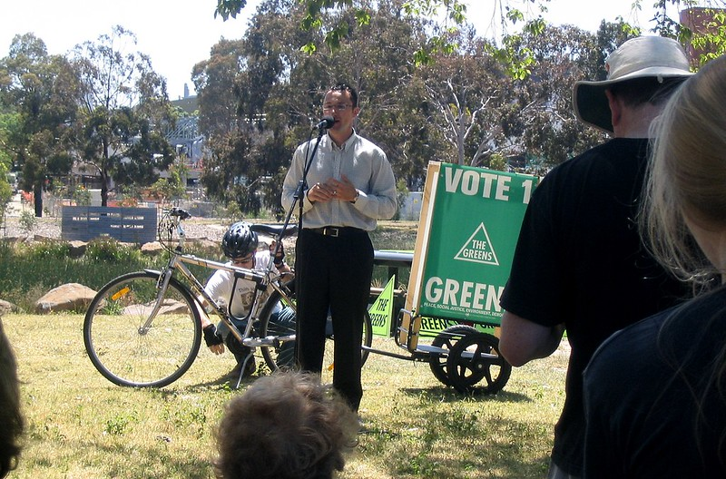 Richard Di Natale speaking at Royal Park in November 2006