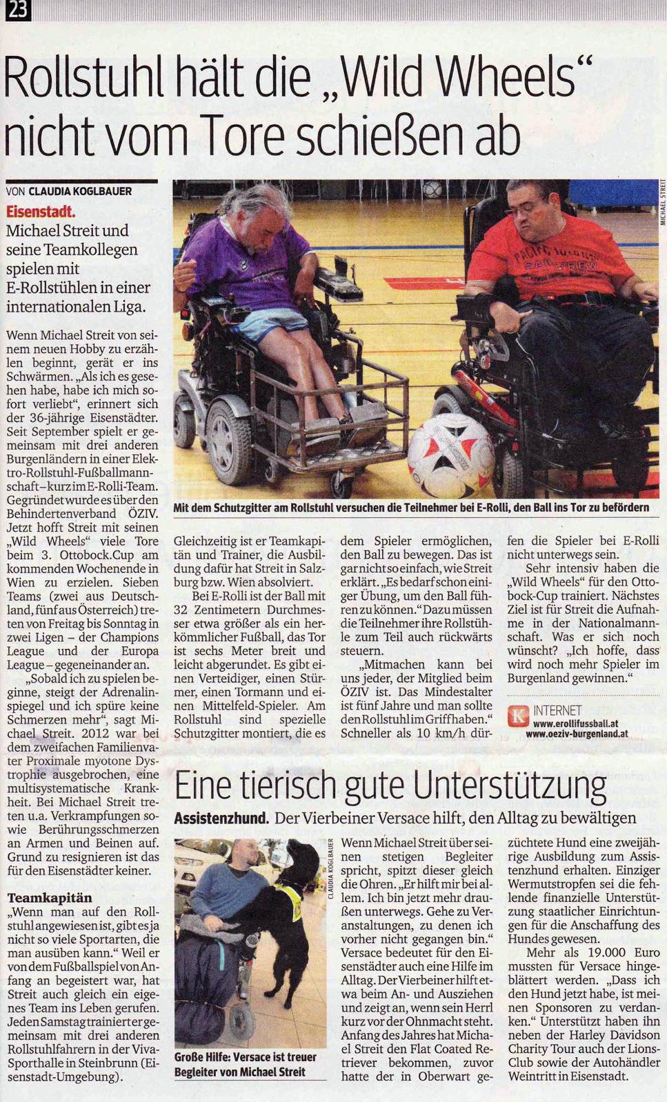 """Kurier: Rollstuhl hält die """"Wild Wheels"""" nicht vom Tore schießen ab"""