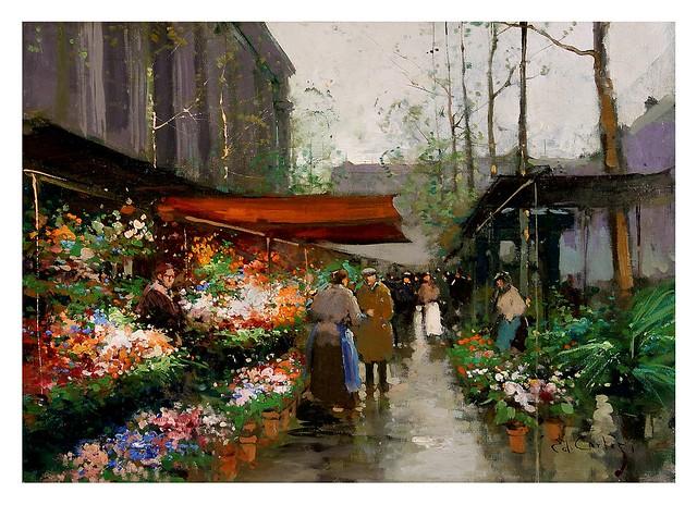 002-El mercado de las flores-Edouard Leon Cortes-rehs galleries