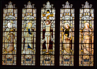 Crucifixion flanked by Joseph of Arimathea, the Blessed Virgin, St John and St Mary Magdalene by Heaton, Butler & Bayne, 1889