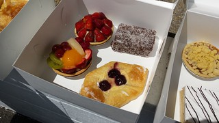 Strawberry Tart, Fruit Flan, Lamington, Cherry Danish from Flour of Life Bakery