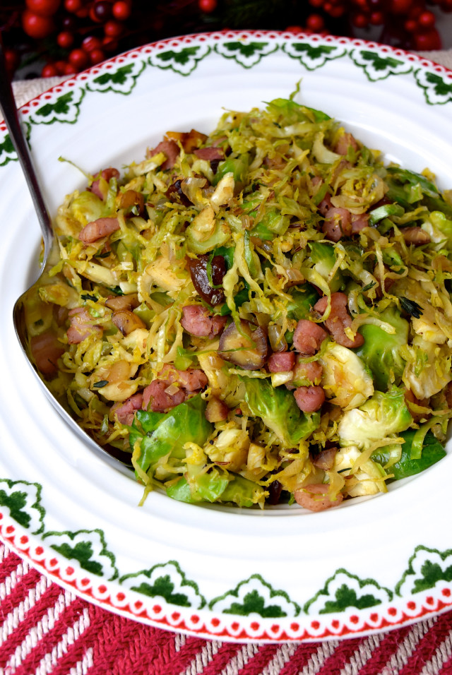 Shredded Sprouts with Pancetta and Chestnuts | www.rachelphipps.com @rachelphipps