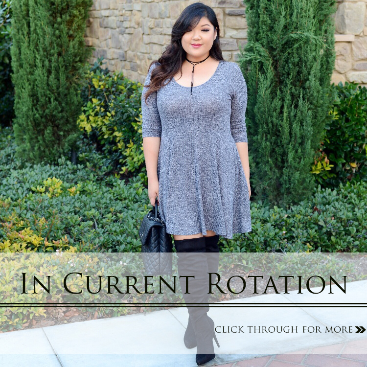 Curvy Girl Chic Plus Size Fashion Blog Wide Calf Over The Knee Boots and Plus Size Sweater Dress Style