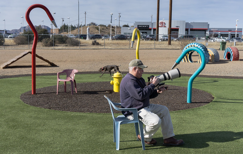 Gary using 300mm lens at dog park