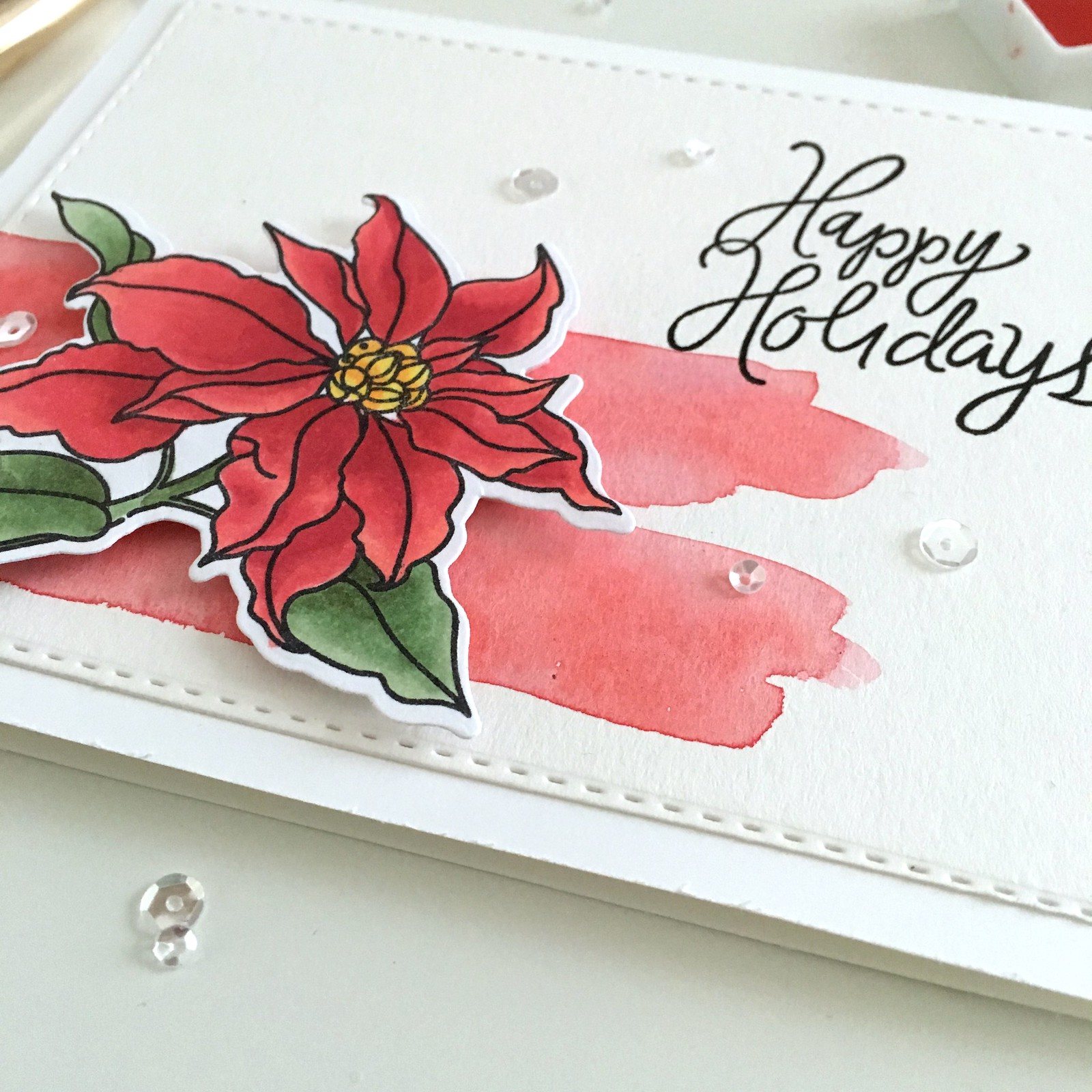 Mama Elephant Poinsettia Holiday Card