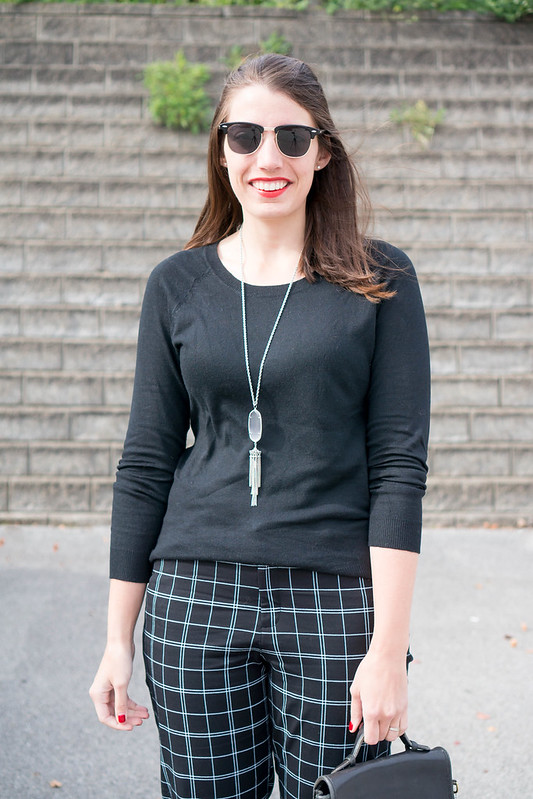 black sweater + old navy plaid grid pants + black Merona wedges; work outfit fall | Style On Target blog