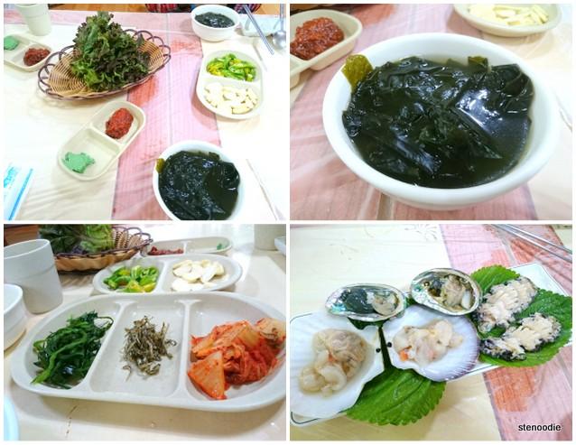 Seaweed soup and banchan