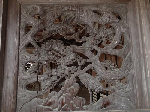 Shojoshin-in Koyasan temple crane wooden art