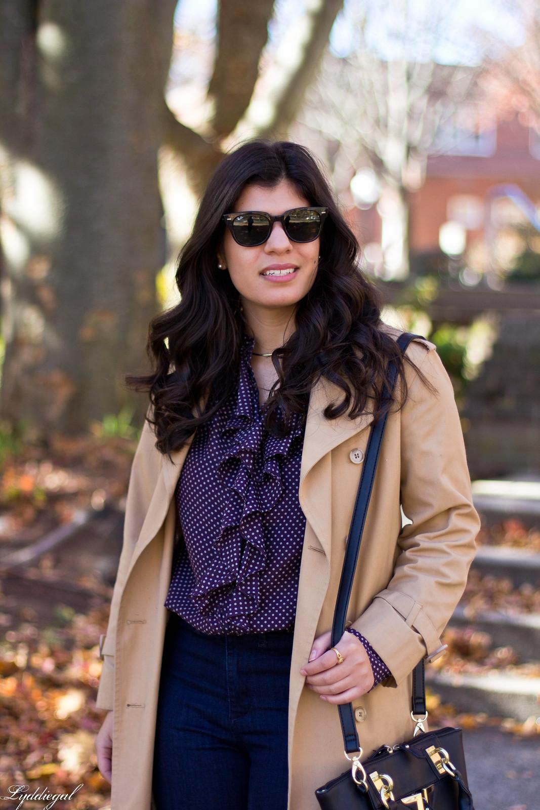 polka dot blouse, flared jeans, trench coat-4.jpg