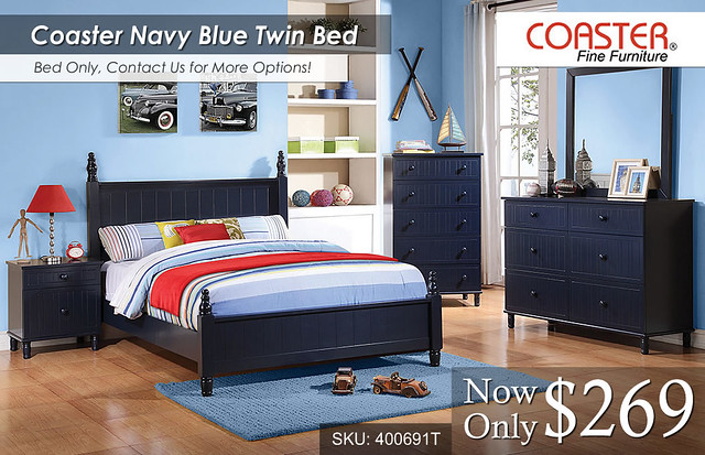 Navy Blue Twin Bed -- COA-400691T