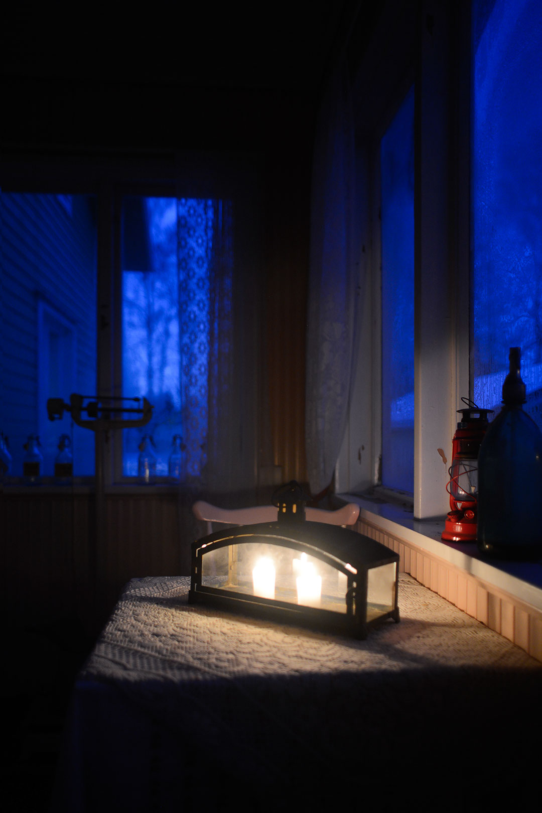Blue hour and candle light