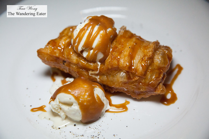 Fried apple pie with foie gras ice cream and caramel sauce