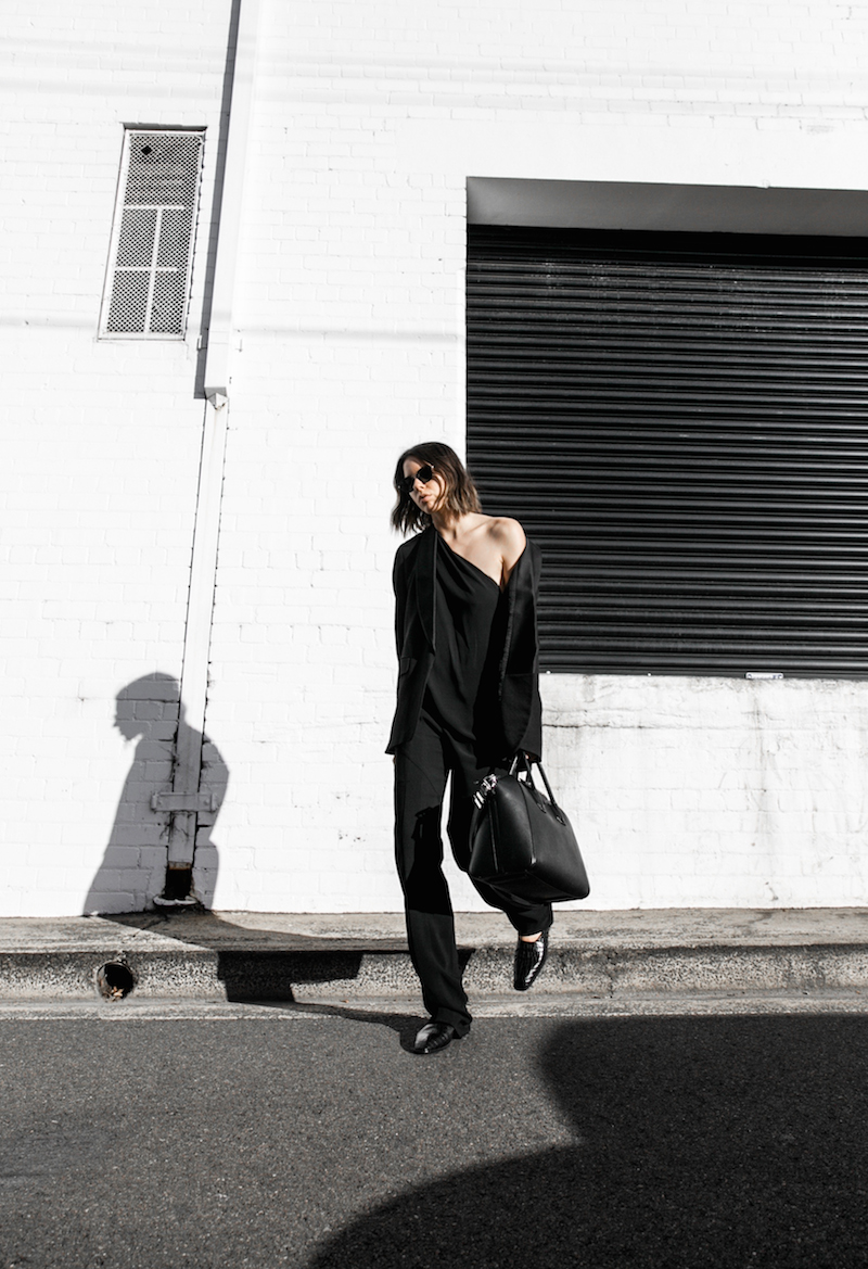 Givenchy one shoulder trend jumpsuit all black street style inspo fashion blogger Antigona minimal modern legacy yoox (9 of 13)