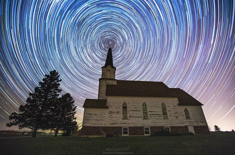 """Oslo Trails"" by Aaron J. Groen @HomeGroenPhotography Just under 2 hours of star trails over this old church in South Dakota. I noticed the top of the spire is missing since the last time I was there back in the end of June so I let the sky provide a new"