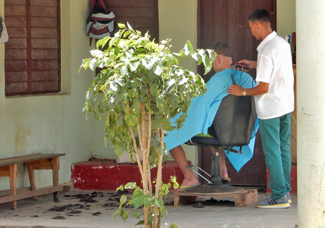 pictures from cuba - porch barbershop