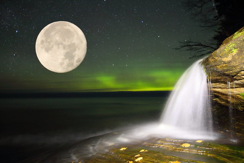 Eliott Falls with Northern Lights and Super Moon double exposed into the scene
