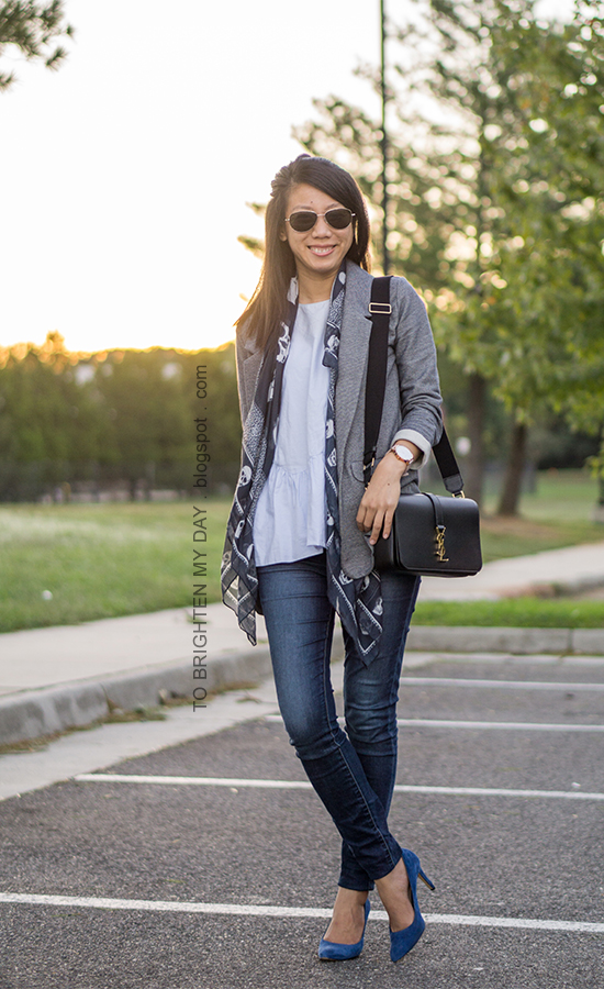 gray boyfriend blazer, navy skull scarf, baby blue peplum top, skinny jeans, oversized watch, black shoulder bag, blue suede pumps