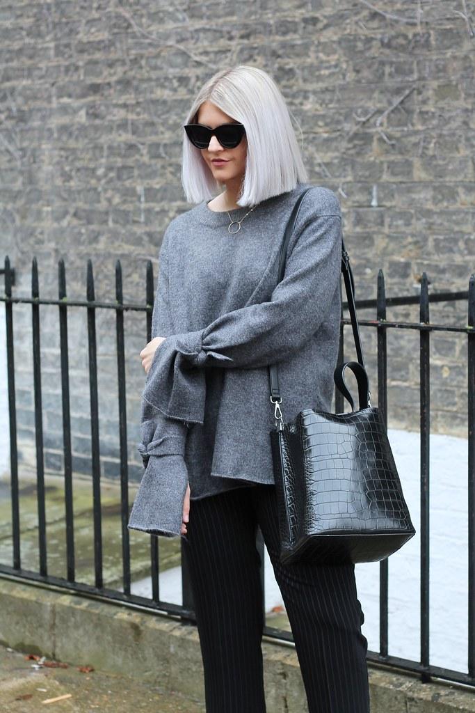 zara tie sleeve grey knit 4