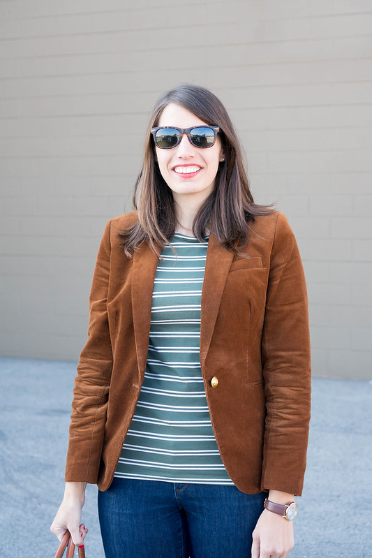 corduroy J.Crew blazer + green stripe tee + green Merona loafers + Loft jeans + target cognac tote | Style On Target blog