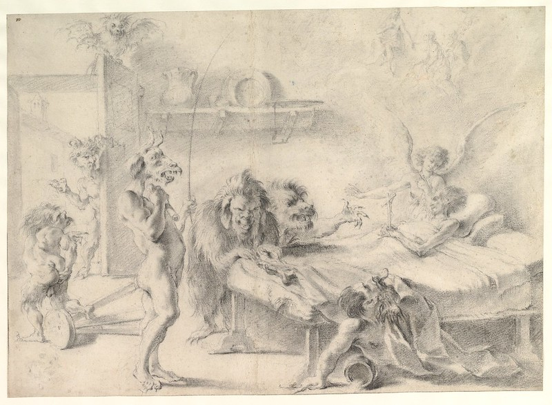 Aureliano Milani  - An Old Man on His Deathbed Tempted by Demons, 17th-18th C