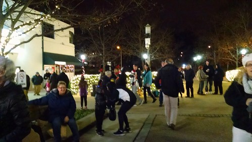 A crowd gathers for the opening ceremony of the Greenbelt Festival of Lights.