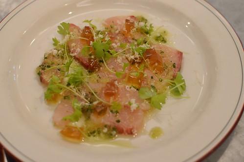 Kingfish, dashi, celery & fresh horseradish