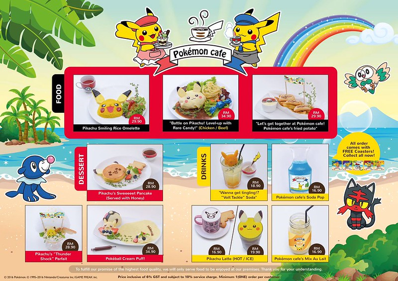 pokemon cafe menu