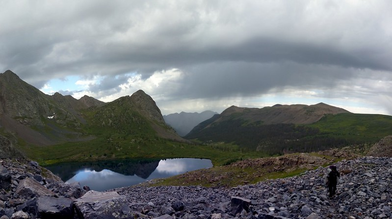 Virga and a Storm over Rock Lake as we climb the old Half Moon Trail over the pass to the Moon Lakes