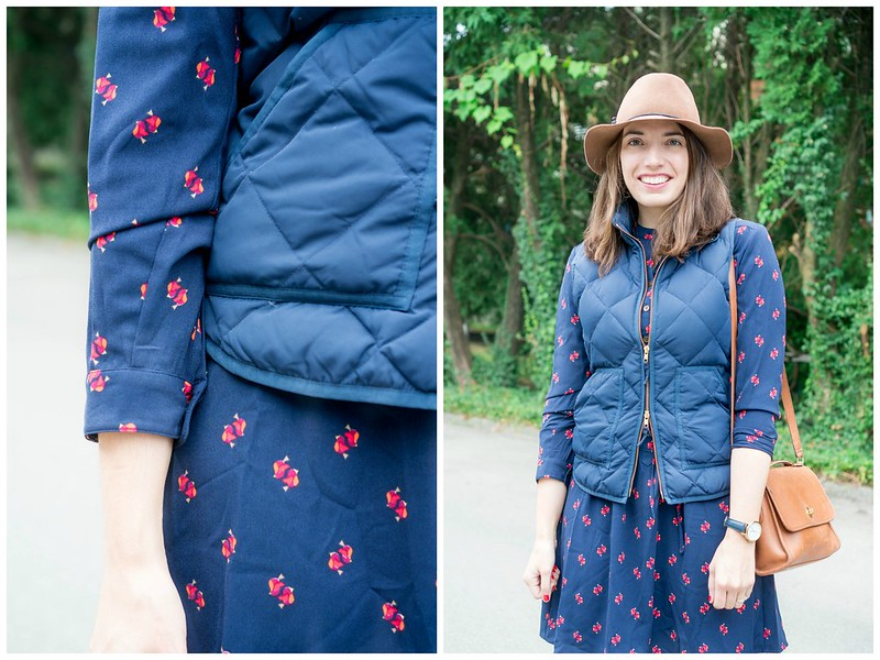 bird print shirt dress Target + brown felt hat + navy J.Crew Factory vest + navy watch + cognac ankle boots; casual fall outfit | Style On Target blog