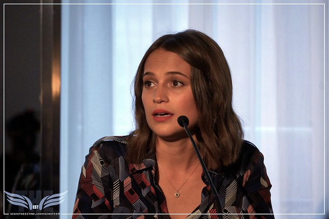 The Establishing Shot:  THE LIGHT BETWEEN OCEANS PRESS CONFERENCE - RISING STAR ALICIA VIKANDER - CLARIDGE'S, LONDON