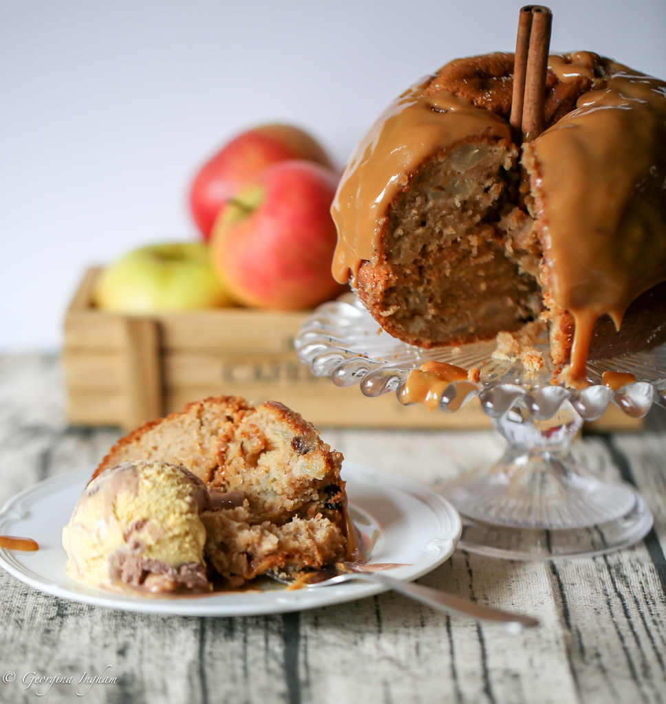 Georgina Ingham | Culinary Travels Photograph - Autumnal Spiced Apple Cake with Ice Cream & Toffee Sauce