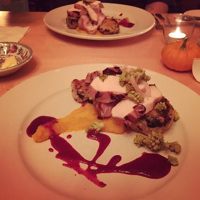 Main course: chicken breast and stuffed thigh. Butternut squash purée. Swiss chard risotto cakes. Pickled romanesco. Blueberry gastrique. At Cloudland Farm.