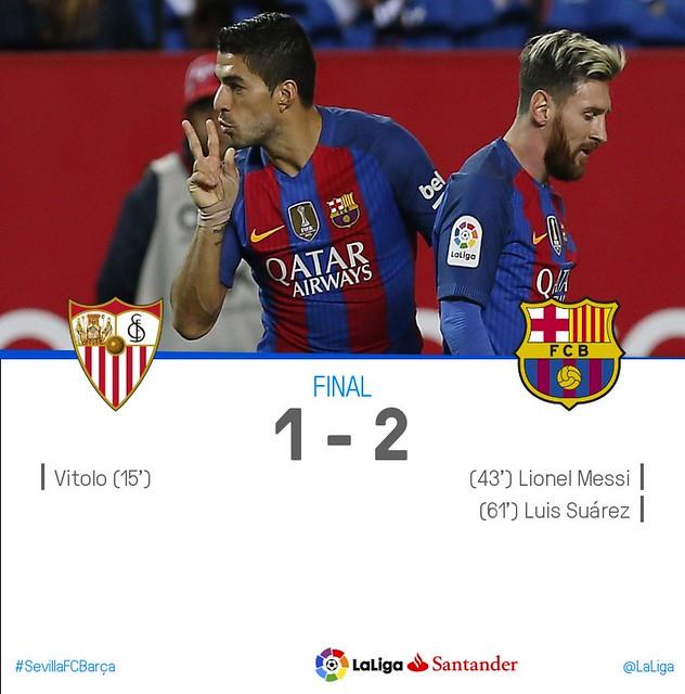 La Liga (Jornada 11): Sevilla FC 1 - FC Barcelona 2