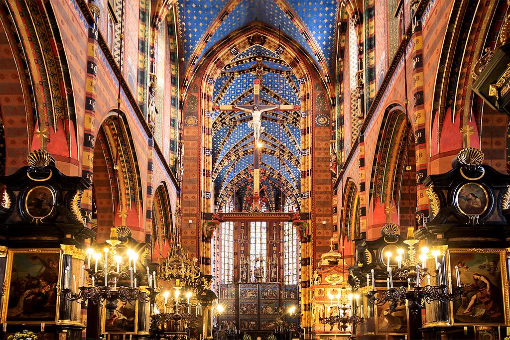 Intérieur psychédélique polychrome de l'église Sainte Marie de Cracovie. Photo de Mariusz Cieszewski @ Flickr