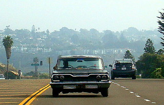 Autopia @ Cardiff-By-The-Sea:  1963 Chevy Bel Air and Toyota Prius, Southbound Highway 101 | by JoeInSouthernCA